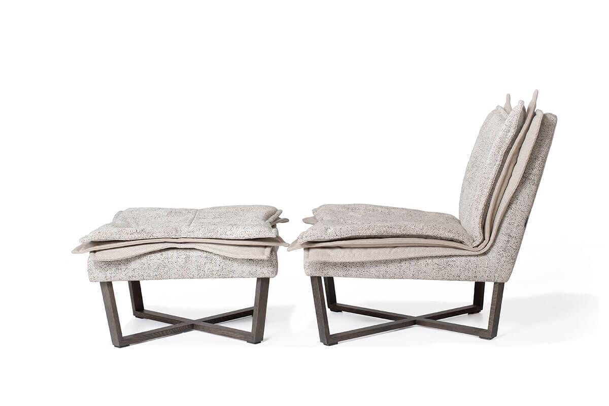 Moome fauteuil Flo grijs met poef
